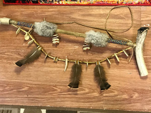 Peace Pipe Wall Hanging. Indigenous, 1st Nations, Beads, Owl Feathers, Antler, bone and wood.