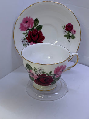 Queen Anne. England. Cup and Saucer. Dark Pink Roses.