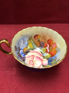 Aynsley. England. Cup and Saucer. Cobalt with Roses, 1033