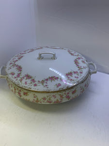 MZ. Czechoslovakia. Bridal Roses. . Round Covered Vegetable Dish. 8