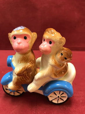 Japan. Collectible Salt and Pepper. Monkeys on Scooter, RARE