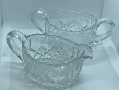 Pressed Glass, Creamer and Sugar, Vintage, Floral