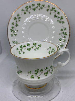 Royal Tara, Ireland. Demitasse Cup and Saucer.  Shamrocks