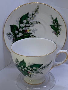 Queen Anne. England. Cup an Saucer.  Lily of the Valley.