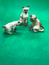 Load image into Gallery viewer, Japan. Porcelain. Miniature Figurine.Siamese Cats- set of 3