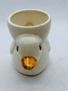 Egg Cup. Japan.  Duck with Egg Cup on it's Back. White/Blue