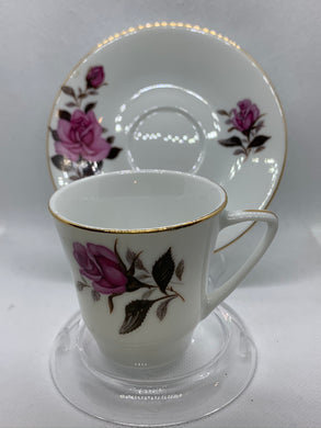 China. Demitasse Cup an Saucer. Pink Roses, Gold Trim