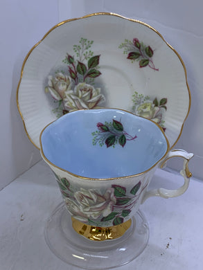 Royal Albert, England. Cup and Saucer. White Roses with Blue Interior