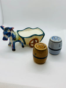Salt and Pepper.  Italy.  -unmarked-  Little Donkey with cart and barrels.
