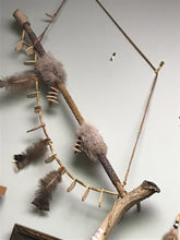 Load image into Gallery viewer, Peace Pipe Wall Hanging. Indigenous, 1st Nations, Beads, Owl Feathers, Antler, bone and wood.