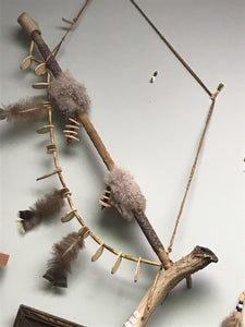Indigenous, 1st Nations, Peace Pipe Wall Hanging. Beads, Owl Feathers, Antler, bone and wood.