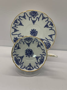Coalport,  Blue and white.  Roses.  Cup and Saucer.