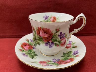 Paragon, , Cup and Saucer, Large Pink Roses