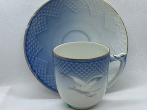 B G, Copenhagen, Blue and White, Seagull. Demitasse Cup and Saucer