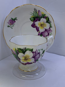 Queen Anne,  England. Cup and Saucer. Purple  Flowers-5389