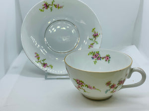 Silesia, Poland. Demitasse Cup and Saucer. Tiny Pink Roses