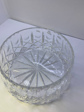 Crystal, Unmarked. Cross and Olive Pattern. Tapered Sides Serving Bowl. 8- 7