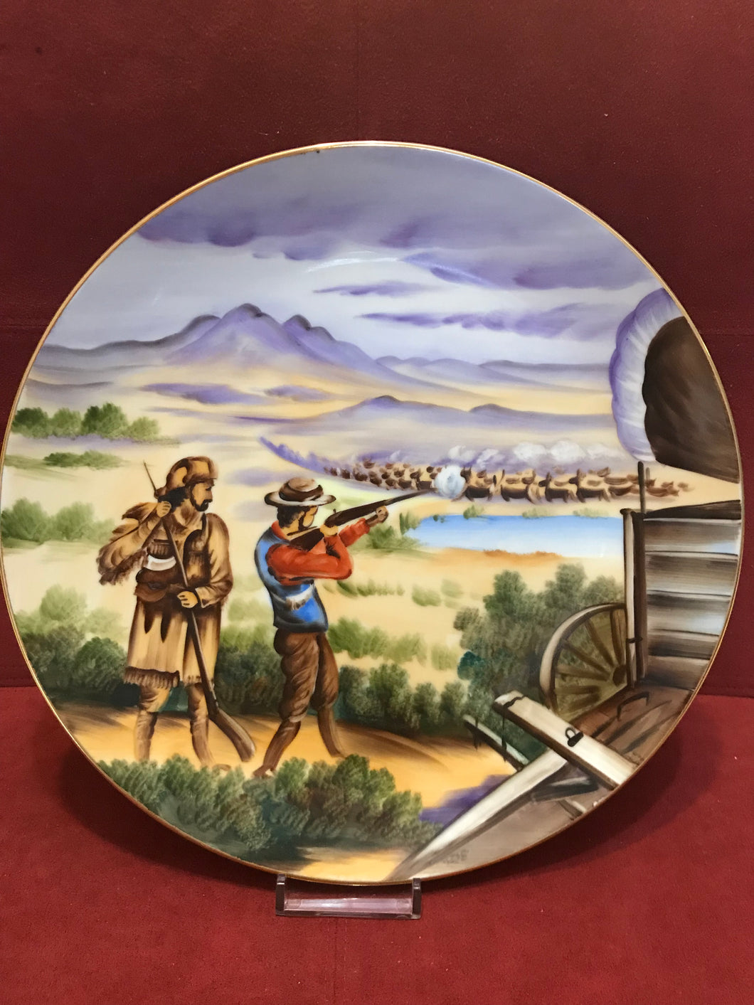 Collector Plate, Topline Imports, Inc. Japan,   Hunting Buffalo. 8
