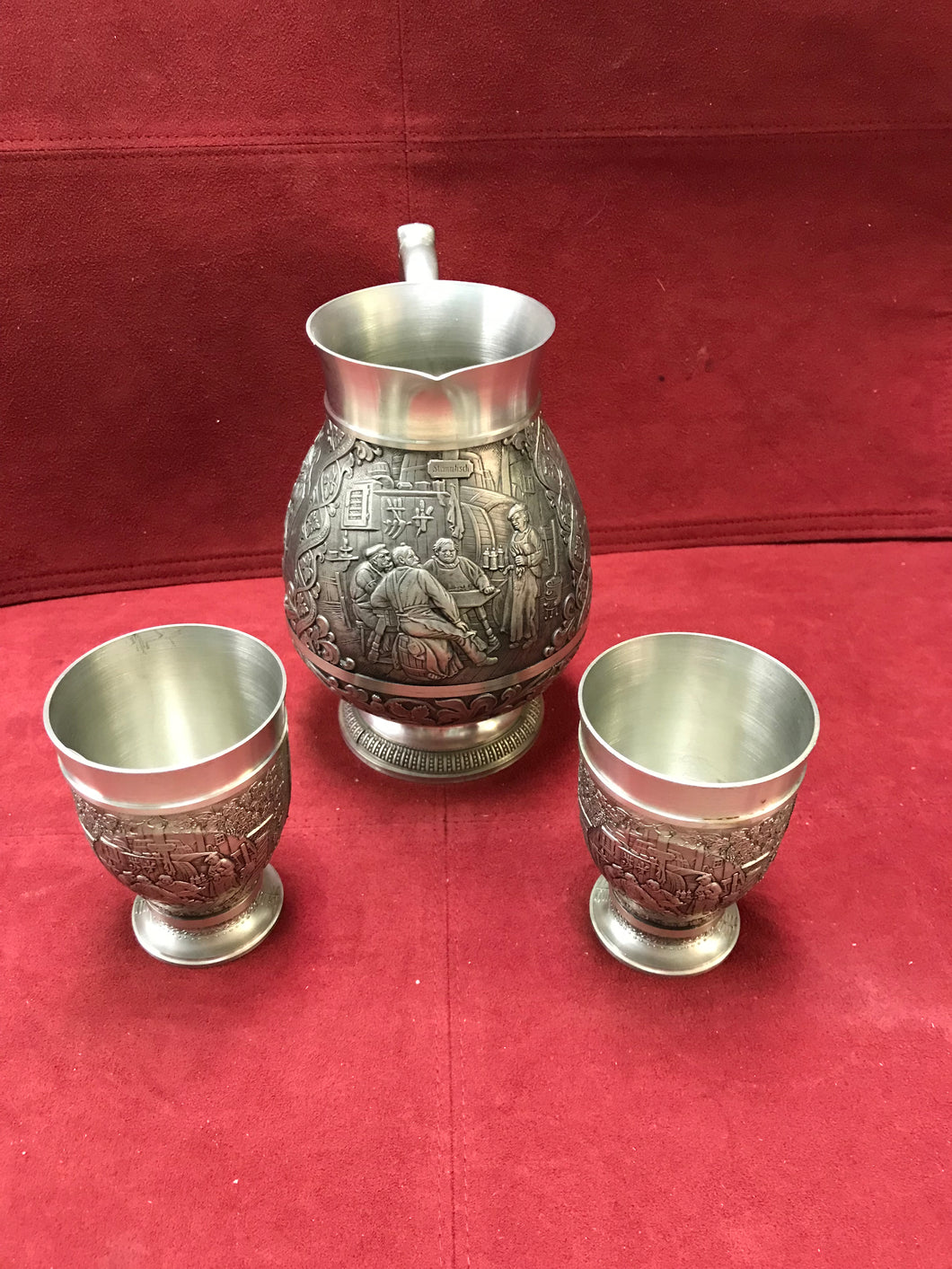Pewter Jug with cups, Germany, Three Piece Set.
