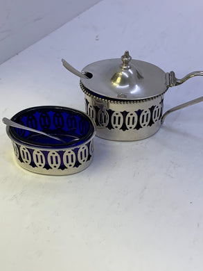 Salt Cellar  and Mustard Pot . England. Sterling Silver with Cobalt blue glass insert