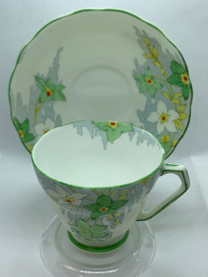Fenton. England. Cup and  Saucer.  Green and White