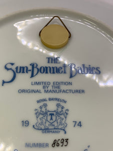 Collector Plates. Sunbonnet Babies.   Royal Bayreuth-Germany.  Days of the Week. Set of 7