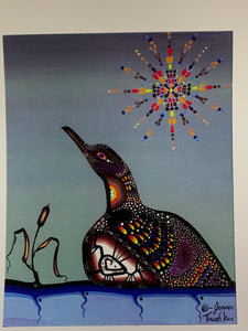 Print. Ojibwe- Woodland Style.  Loon on Lake.   By Jenner Tauch Kwe