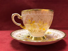 Load image into Gallery viewer, Tuscan, England. Cup and Saucer. Pink, Gold, Yellow Flower
