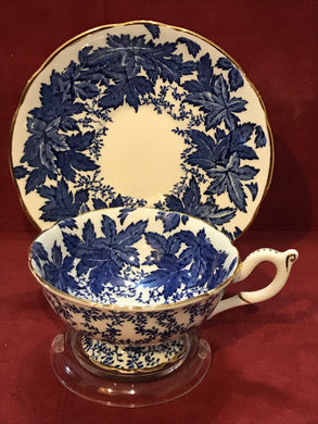 Coalport,  Blue Maple Leaf Chintz.  Cup and Saucer.
