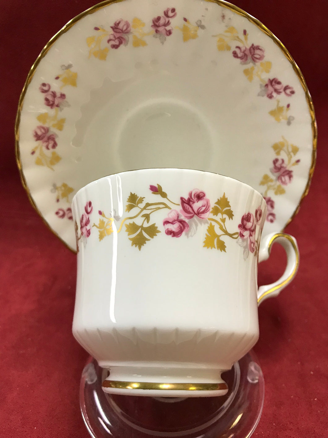 Royal Stafford, England. Cup and Saucer. Small Pink Roses
