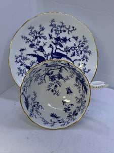 Coalport,  England.  Cup and Saucer.   Bird of Paradise. Cobalt Blue and White