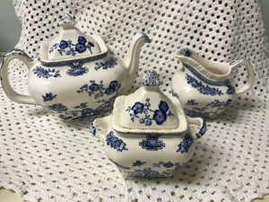 Mason's   3pc Tea Service, Blue and White