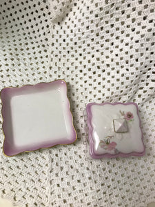 Butterdish, Old Foley, James Kent, England, Square, Pink Floral