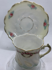 R S. Germany . Porcelain.  Ivory Lustreware with Pink Roses/gold trim. Demitasse Cup and Saucer
