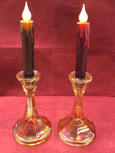 Candle Stick Holders, Carnival Glass, Amber, 6-1/2' high