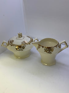 Serving Dishes. Myott. Made in England. Cream and Covered Sugar.  Gold Floral on Cream.