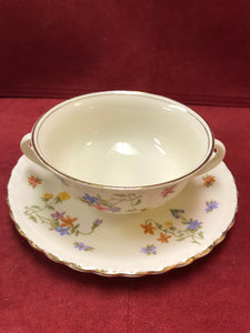 Myott. England. Dinnerware.  2 Handled Soup Bowl with under Plate.  Set of 4