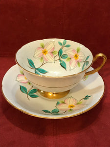 Royal Grafton, England. Cup and Saucer. Painted Trilliums