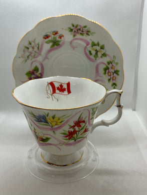 "Royal Albert. England.  Cup and saucer, ""Our Emblems Dear"". Canada"