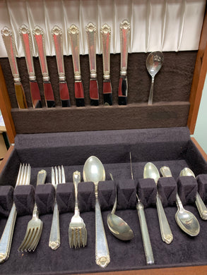 Birks.  Sterling Silver, Flatware- Service for     8. (40 pc plus 4)   Pattern- George II