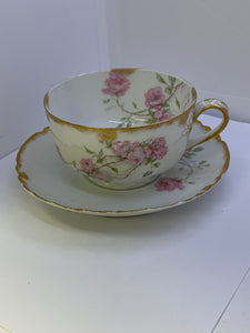 Limoges. Haviland. France.  Large Pink Roses.  Cup and Saucer