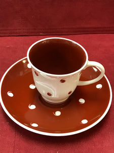 Susie Cooper, England, Coffee service for 8, Burgundy/White with Raised Comma Design