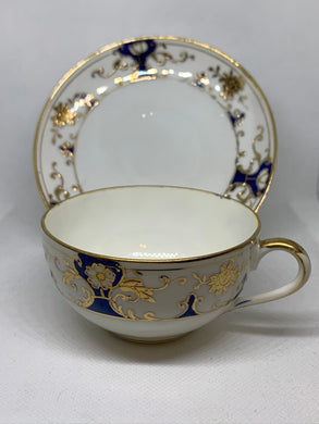 Nippon. Japan. Cup and Saucer. Cobalt and Gold on White