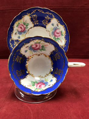 Royal Stafford, Royal Blue with Pink Roses