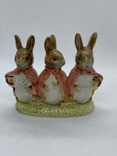 Load image into Gallery viewer, Figurine.  Beswick. England.  Beatrix Potter's. Floppy, Mopsy and Cottontail.  1954