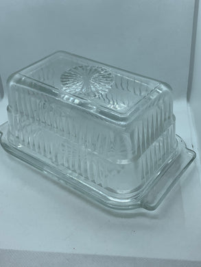Pressed Glass, Butter Dish.  rectangle.  1 pound capacity.