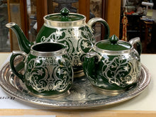 Load image into Gallery viewer, Gibsons, England, Tea Service, Hunter Green with Silver Overlay