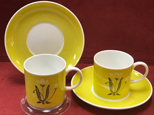 Susie Cooper,  Burgendy, Mocha or Yellow. Demitasse Cup and Saucer