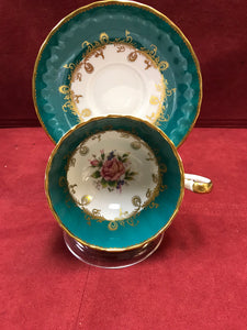 Aynsley, England. Cup and Saucer. Teal Green and Roses