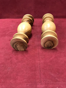 "Candle Stick Holders, Wood, Turned, pair, 6"" high"